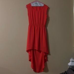 Coral High-Low Open Back Dress